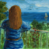Red-hair lady watching the sea. 2015. Anatolkin