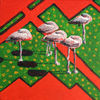 Sleeping flamingos during a hot Siesta. 2017. Anatolkin